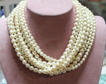 Eight Strand Pearl Necklace/Eight Strand Short Pearl Necklace/Deco Era Multi-Strand Pearl Necklace/Mother's Day/Birthday/Wedding