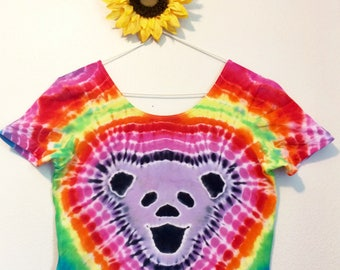 Grateful Dead Tie Dye Crop Top Size L