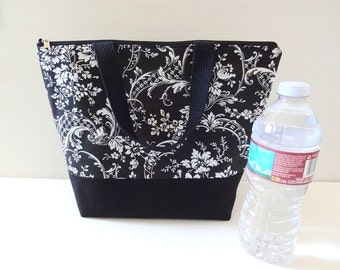 Insulated Lunch Bag, Lunch Tote, Lunch Box, Zipper Tote, Patchwork Bag - 21 Selections, Black, White, Check, Chevron, Dot, Damask, Plaid