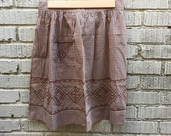 Vintage Checkered Apron. Brown and White Gingham Half Tie Apron.