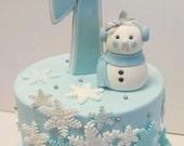 Fondant Snowman Snowgirl with Earmuffs Winter Wonderland 1st Birthday Baby Shower Lt. Blue Silver Bow  Age Topper Optional
