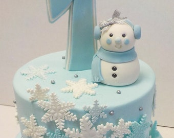 Fondant Snowman Snowgirl with Earmuffs Wonder Winter 1st Birthday Baby Shower Lt. Blue Silver Bow  Age Topper Optional