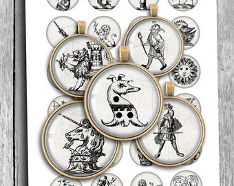 Medieval curiosities 20 mm 1.25 inch 1 inch 1.5 inch Printable Round images Digital Collage Sheet Printable Download
