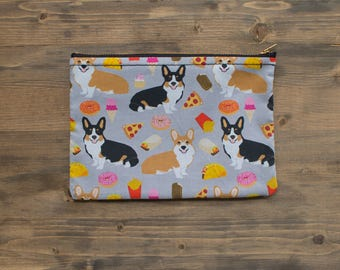 Corgi Zipper Pouch, Makeup Bag, Pencil Pouch, Zipper Pouch, Cosmetic Bag, Toiletry Bag