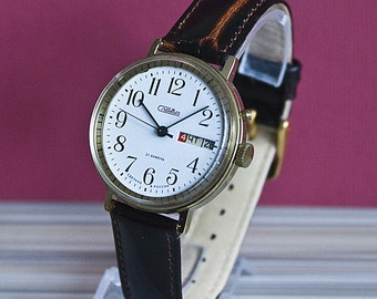 Soviet watch Slava - Slava vintage mens watch, retro watch, USSR working mechanical watch