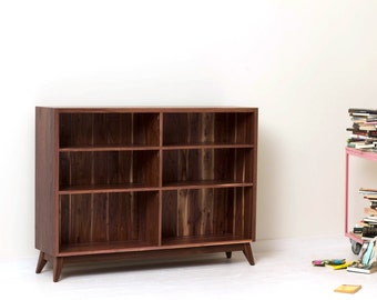 Classic Mid-Century Modern Book Shelf - Large Solid Walnut Bookcase