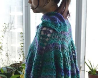 crochet striped lace shawl/wrap