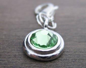 Peridot Crystal Charm - Rhodium - Pet Collar Charm - Dog Cat Bridle Charm