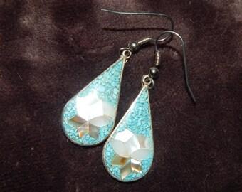 Vintage Alpaca Silver Earrings Abalone Inlay Flower Dangle Drop Alpaca Mexico Dangle Earrings