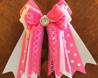 Equestrian Bows for Horse Shows/hair accessory/sparkle gem