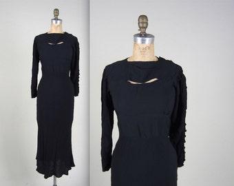 Vintage 1930s black dress // 30s cut out bias cut gown