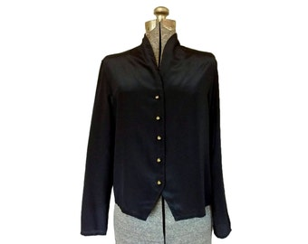 Vintage 1980s Black Collarless Blouse w/ Decorative Gold Buttons (12) / Lauren Lee