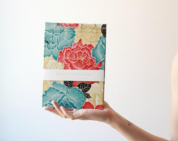 Handmade notebook, floral pattern notebook, drawing notebook, handmade bookbinding, made in Barcelona, flowery notebook, japanese notebook