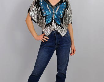 Vintage Blue and Silver Sequin Party Butterfly Top