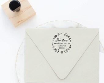 Return Address Stamp, Wreath Stamp, Circle Address Stamp, Round Address Stamp, Custom Stamp, Personalized Stamp, Self Inking Stamp
