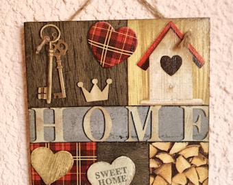 Decoupage picture,Shabby Chic picture,retro,rustic,wall decor,cottage,decoupage plaque,sweet home,wood heart,key,cozy house,bird house