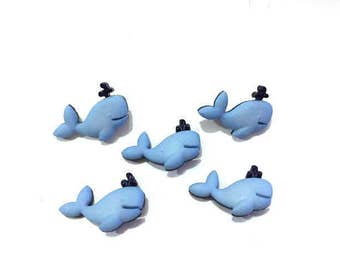 Whale Buttons Jesse James Buttons Baby Animals Dress It Up Buttons Blue Color Choice Set of 5 Shank Back - 760 C