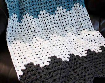 PDF Crochet Pattern - Chevron Granny Ripple Blanket