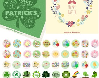 Easter and st.Patrick - 1/2 inch or 12 mm Images 4x6 Digital Collage INSTANT DOWNLOAD