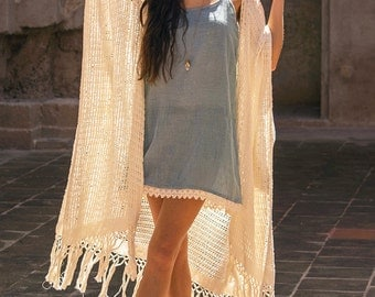 Wings Kimono duster ~ natural écru ~ handloomed ~ fringed