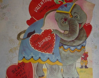 Elephant With Jumbo Sized Heart Looking for a Valentine Mechanical Vintage Card