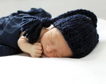 Photo Prop, Newborn Baby Hat, Tassel Newborn Boy Prop Newborn Navy- Gardenia Hat