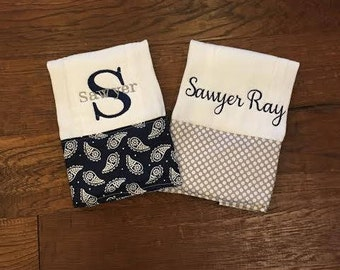 Burp Cloth. Baby Burp Cloths. Cloth diaper Burp/ Navy Paisley and Gray Polka Dot. set of two - Baby Shower- Baby Gift. Personalize, Monogram
