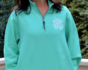 Monogrammed Charles River Quarter Zip Pullover---CLOSEOUT