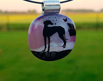 Greyhound  fused glass pendant.