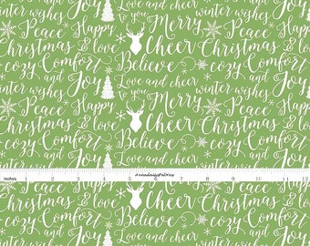 Green Christmas Words Fabric, Riley Blake Fabric, Comfort and Joy C6264, Green  Christmas Quilt Fabric, Dani Mogstad My Minds Eye, Cotton