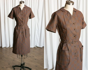 Carrickfergus dress | vintage 50s dress | 1950s vintage brown gingham dress | 50s brown / orange cotton checked plaid summer shirtdress