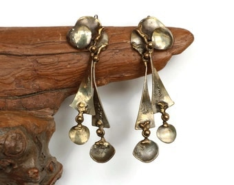 Brutalist Oxidized Metal Earrings with Heavy Patina and Multiple Kinetic Panels