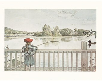 girl fishing angling bridge river Carl Larsson vintage print water colour color Swedish art Scandinavian fishing rod Lisbeth 8.25x10.75 in