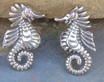 Vintage Mexican Sterling Silver Seahorse Screw Back Earrings c. 1940's