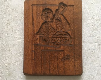 Dutch vintage wooden cookie mold 24cm x 17,5cm - handcarved - baker