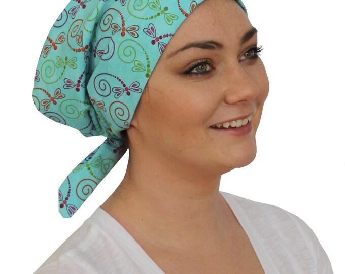Featured listing image: Sandra Scarf, A Women's Surgical Scrub Cap, Cancer Headwear, Chemo Head Scarf, Alopecia Hat, Head Wrap, Head Cover, Hair Loss - Dragonflies