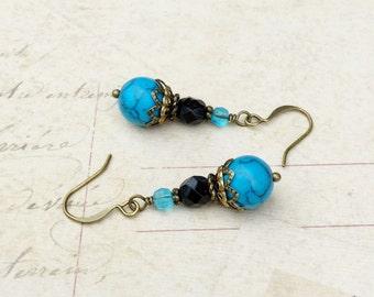 Blue Earrings, Black Earrings, Turquoise Earrings, Gemstone Earrings, Victorian Earrings,Czech Glass Beads, Aqua Earrings, Turquoise Jewelry