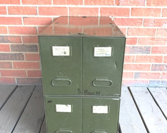 Vintage Vertical Metal File Cabinet 4 Drawers Stack Military Green Side End Table Industrial Decor