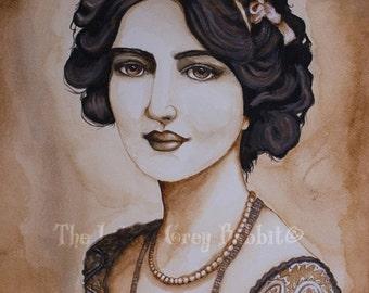 Watercolor Print, Sepia Art, Portrait Painting, Lily Elsie, Woman Watercolor, Vintage Style Print, Actress Portrait, Watercolor Portrait