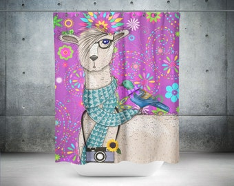Hipster Llama And Bird Shower Curtain Optional Bath Mat Purple Floral