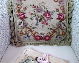 """Absolutely glorious vintage needlepoint cushion~Gros & petit point roses and arum lilies~Complete with 18""""x18"""" duck feather pad"""