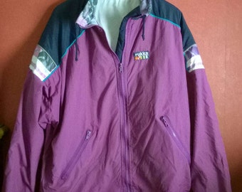 Vintage 90s Windbreaker L XL Oversize Purple VINTAGE 1990s WIndbreaker Purple Colorblock Multicolor Windbreaker L XL 196cm