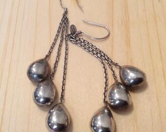 Sterling Silver signed 925 Turkey drop dangling earrings