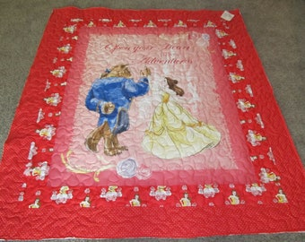 """Beauty and the Beast - Beauty and the Beast Quilt - 54"""" x 60"""" - Open your heart to new adventures - Belle - Disney's Belle - Disney Quilt"""