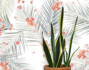 Palm Petal REMOVABLE Fabric Wallpaper Tile