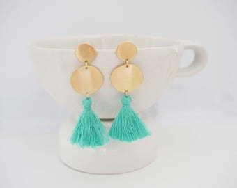 Mint Green Tassel and Gold Circle Post Earrings