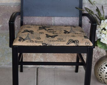 Vintage Black Chair, Vintage Accent - Entryway Chair, Vintage Gossip Bench ~ Vintage Mudroom Chair - Bench