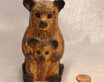 Vintage Japanese Bear with Baby Bear Huck and Berry, Porcelain Bear, Animal Statue