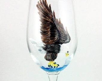 Eagle Gifts, Dining Decor, Painted Wine Glass, Eagle Decor, Anniversary Gift, Best Wine gift, American Bald Eagle, Wedding Gift, Bald Eagle