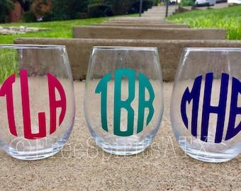 Monogram Wine Glass/Wine Glass/Stemless Wine Glass/Monogram/Custom Wine Glass/Personalized Wine/Personalized Wine Glass/Monogram Gift/